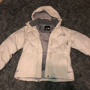 White North Face Puffy Jacket
